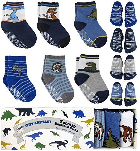 Tiny Captain Boy Toddler Socks Baby Boys Dinosaur Sock 1-3 Year Old Non Slip Grips 8-36 Months Gift 6 Pack (Blue) ()