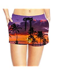 Sunset Beach Oil Painting Board Shorts Quick Dry Shorts With Pockets For Womans White