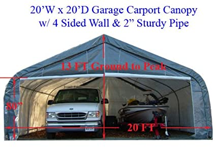 Amazon com : 20' x 20' Garage Canopy Awning Car Truck Boat