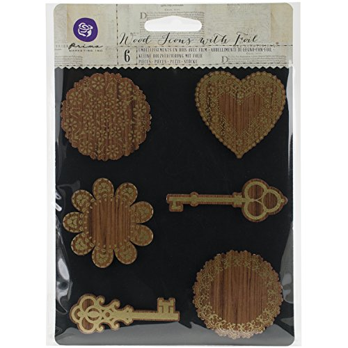 Prima Marketing Wooden Icons W/Foil 6/Pkg-Keys & Doilies Foil Icon