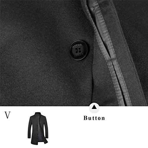 APTRO Men's Wool French Front Slim Fit Long Business Coat 1681 DZDY Black M by APTRO (Image #5)