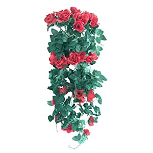 "Colorfulife® 1pcs Artificial Lifelike Silk 39"" Rose Ivy Hang Flower Vine Rattan Cane Garland Wall Hanging Plant Wedding Party Home Garden Room Balcony Decoration,7 Colors 4"