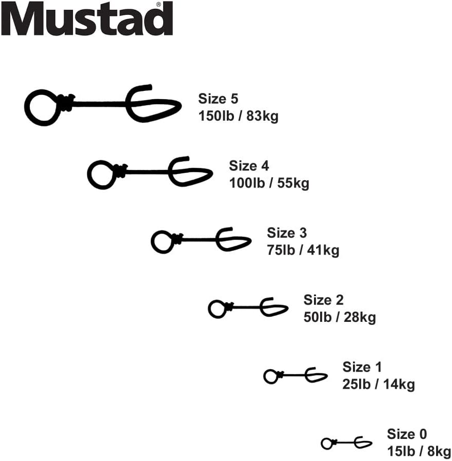 Black 12 Pack Mustad Fastach Clip Fishing Terminal Tackle Size 3