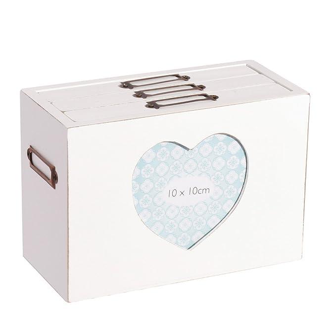 Caja de almacenamiento de madera con marco para fotos, el regalo perfecto para el 5º aniversario: Amazon.es: Hogar