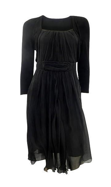 Puzzle cuadrado negro cuello Stretchy Vestido con falda seda delantera y flotador Negro negro: Amazon.es: Ropa y accesorios