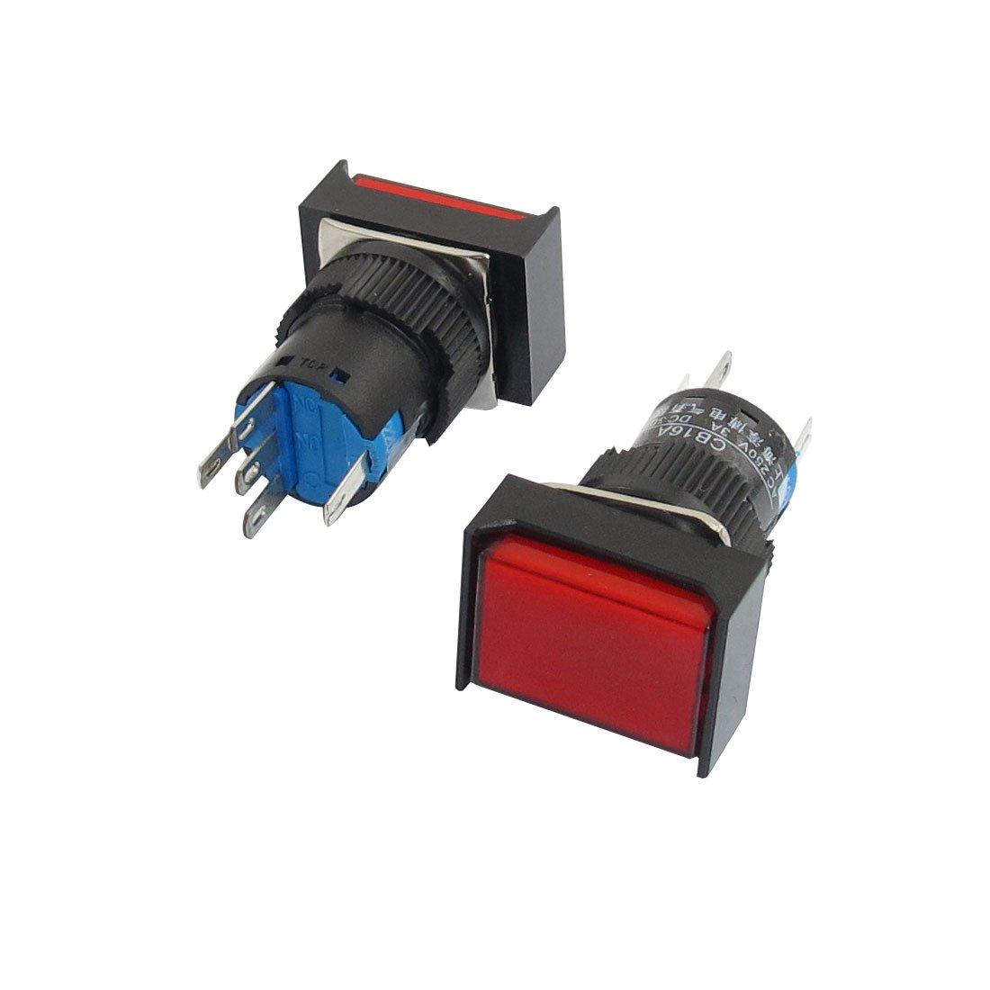 Aexit AC 220V L/ámpara 1NO 1NC Cierre rojo Bot/ón rectangular Interruptor de bot/ón pulsador 2Pcs model: Z8655IIIVII-2323AE