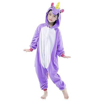 Kind Einhorn Pyjamas Kostüm Jumpsuit Tier Schlafanzug Kinder Unisex Fasching