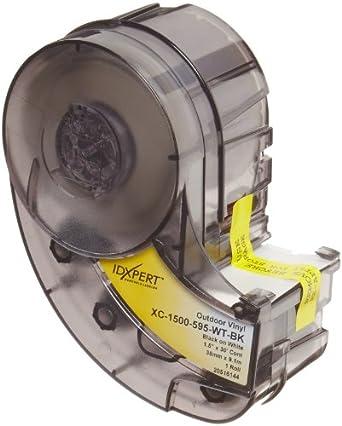 Printable Area: 19.000 W x 1.000 H  1 roll Brady XC-1000-595-GN-WT IDXPERT & LABXPERT Labels  B-595 Indoor/Outdoor Vinyl Film White on Green /Cartridge 30ft.