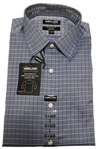 Kirkland Signature Mens Long Sleeve Non-Iron Button Down Dress Shirt (XL 17x34/35, Navy Herringbone Sliver (Herringbone Long Sleeve Dress Shirt)