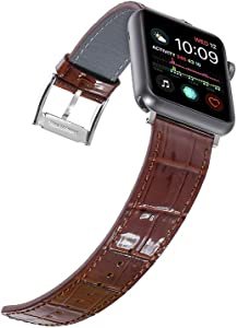 Faytop Bright Patent Leather Strap for Apple Watch Band 38mm Series 3/2/1 Women/Men,Alligator Grain Leather Band for Apple Watch Band 40mm Series 4/5 iWatch Bracelet Brown