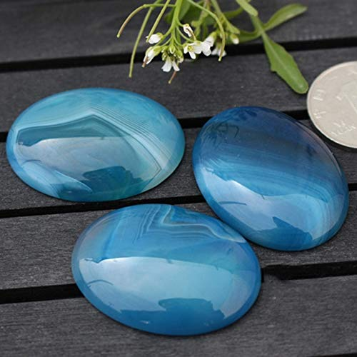 - Calvas Selectable Size 5PCS/lot Oval Blue Banded Agates CAB cabochon Beads for Jewellery Making Beads Ring Pendant DIY Beads Trinket - (Color: Stripe Agate, Item Diameter: 18x25mm)