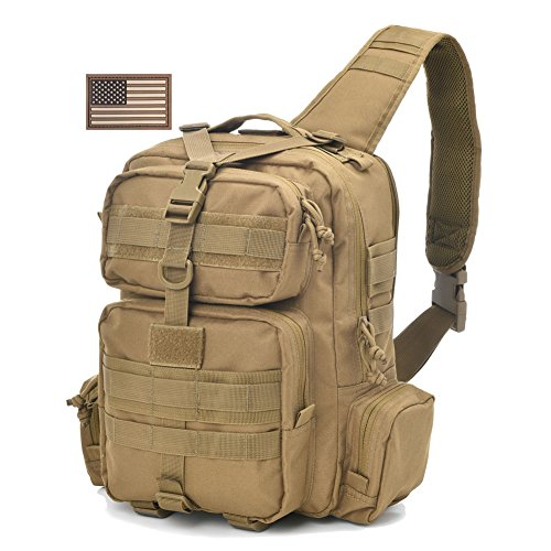 Tactical Sling Bag Pack Military Rover Shoulder Sling Backpack Molle Assault Range Bag Everyday Carry Bag Day Pack with Tactical USA Flag - Bag Pistol Range