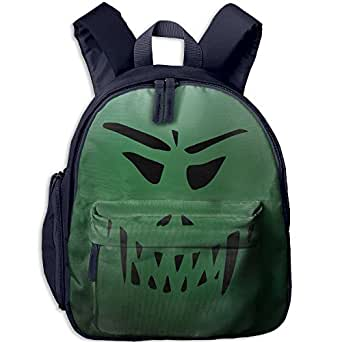 Small School Bookbag Customized With Halloween Face For Kindergarten Unisex Children Navy