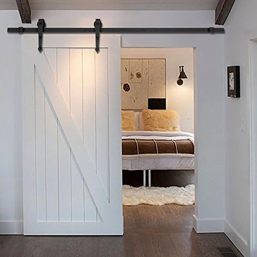 new-6-ft-black-modern-antique-style-sliding-barn-wood-door-hardware-closet-set