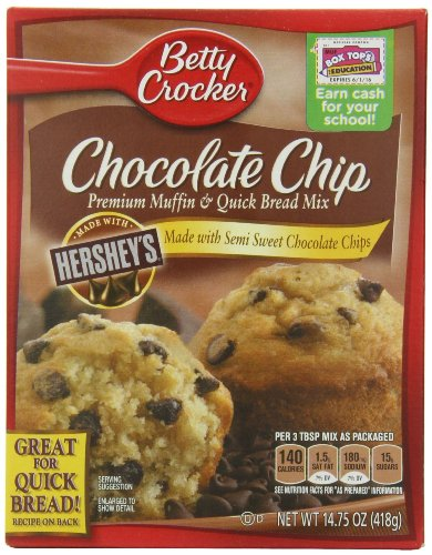 Betty Crocker Premium Muffin and Quick Bread Mix, Chocolate Chip,14.75 Oz Box (Pack of 6)