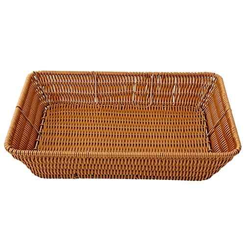 VKTECH 100% Handmade Weaved Storage Basket Imitation Rattan Handcrafted Hamper Wicker Tray Fruit Vegetables Serving Basket Container Organizer Box Natural Decor (L - ()