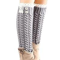 Wintialy Winter Warm Knitted Socks Leg Warmers Boot Crochet Long