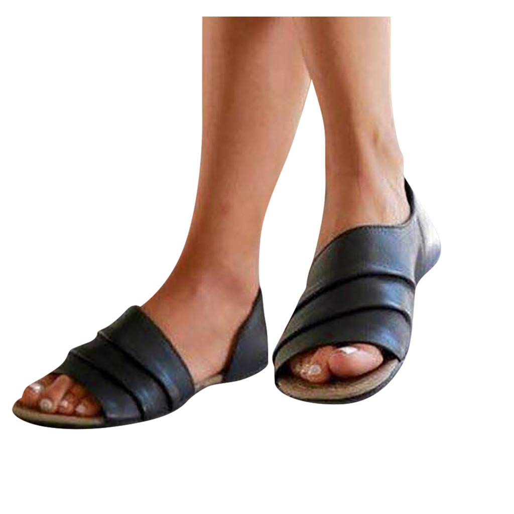 Sandals for Women Platform Casual, Sharemen Flats Shallow Mouth Peep Toe Beach Shoes Roman Sandals (Black,US: 7) by Sharemen Shoes (Image #2)