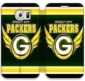 Samsung Galaxy S6 funda,NSDFIUOSR3753 Flip cubierta y soporte para Samsung Galaxy S6 - Green Bay Packers logotipo del equipo