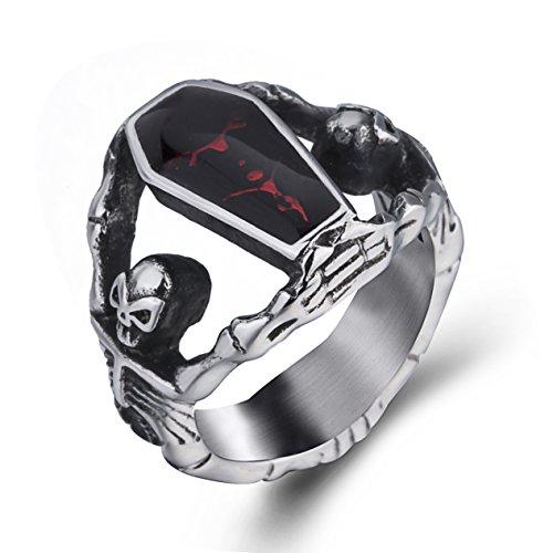 Elfasio Men's Stainless Steel Band Ring Gothic Vampire Skeleton Bloody Red Enamel Coffin Bike (size 9) (Gothic Ring Jewelry)