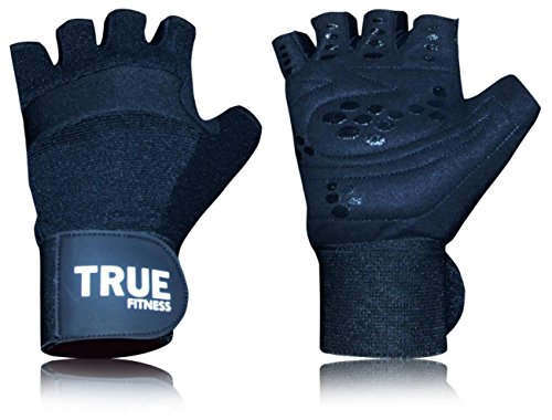 Premium Quality Weight Lifting Gym Gloves by True Fitness –Power Crossfit, Cross Training, Bodybuilding, Workout, Exercise – Wrist Wrap Support, Durable, Flexible, Breathable, Men & Women
