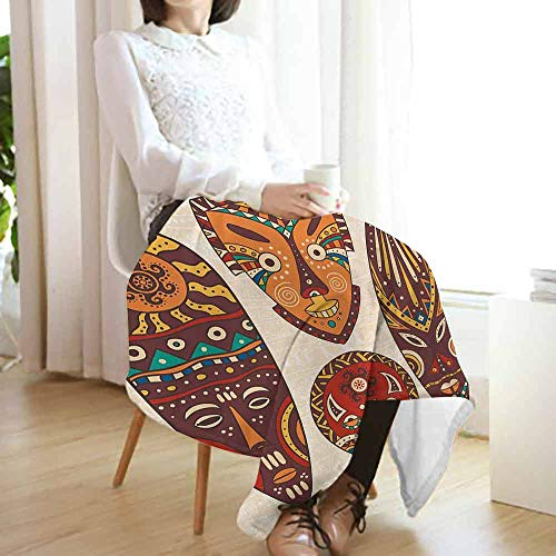 vanfan-home Tiki Bar Printing Throw Blanket,Mask Designs African Aborigine Artwork Patterns Cultural Ethnic Hawaiian Print Cozy Warm Fluffy Blanket for Chair Fall Winter Spring(60