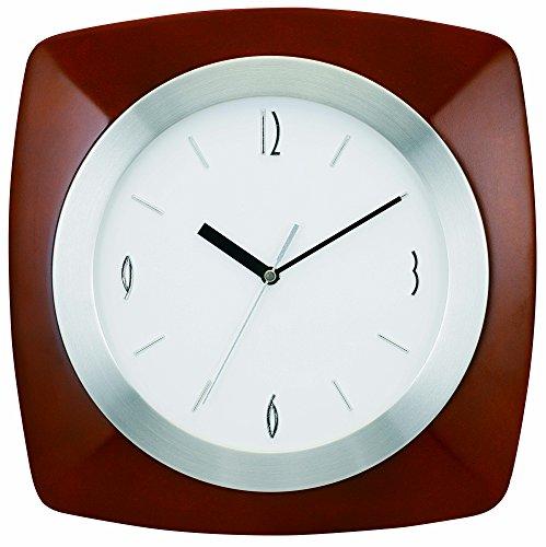 "Tempus® TC7902BR Wall Clock with Wood Aluminum Frame and Daylight Saving Time Auto-Adjust Movement, 12"", Dark Brown"
