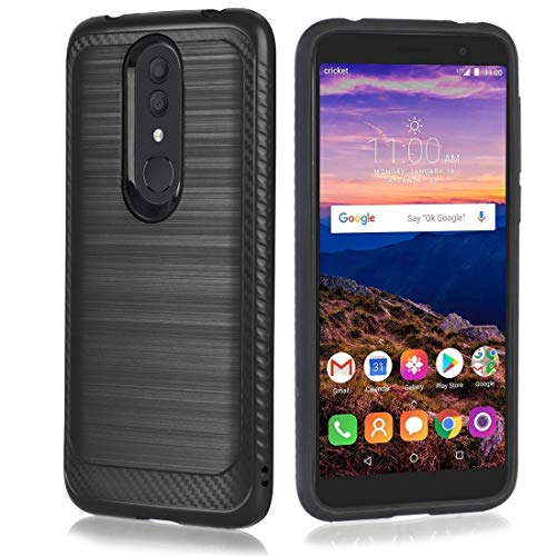 Alcatel Onyx Case, Brushed Metal Aluminium Metallic Steel Finish Hybrid Protective Slim Cover [Dynamic Anti-Slip Grip] Shock Absorbent TPU Shield Protection for Alcatel Onyx (Cricket) (Black)