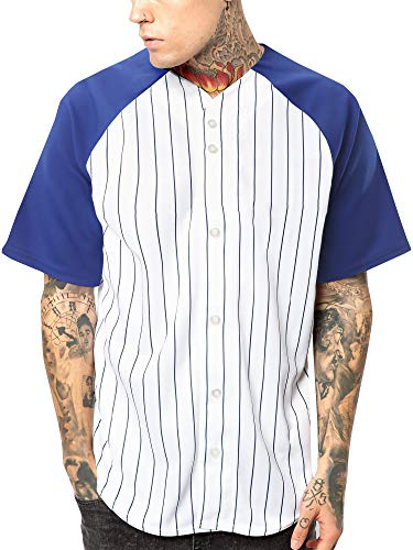 Hat and Beyond Mens Premium Pinstripe Baseball Jersey Raglan Short Sleeve Hip Hop Active Shirt (Medium, 1up03_White/Royal Blue)