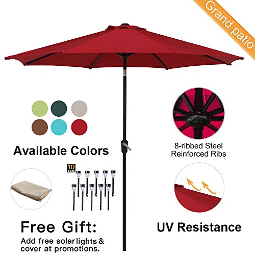 Grand patio 9FT, 8 Ribs Aluminum Patio Umbrella with Auto Crank and Push Button Tilt, UV Protective Beach Umbrella, Powder Coated Outdoor Umbrella, Red