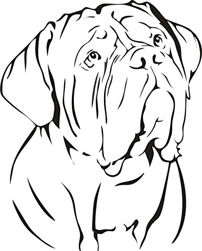 DOGUE DE BORDEAUX FRENCH MASTIFF DOG CAR DECAL STICKER, Black, 22 Inch, Die Cut Vinyl Decal, For Windows, Cars, Trucks, Toolbox, Laptops, Macbook-virtually Any Hard Smooth (Bordeaux Vinyl)