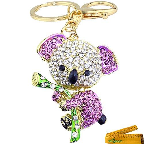 Bling Bling Crystal Rhinestone Enamel Graven 3D Cubic Metal Keychain Car Phone Purse Bag Decoration Holiday Gift Koala (Purple)