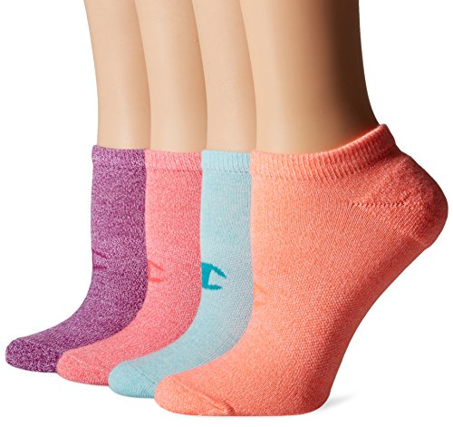 Champion Womens Double Dry 4-Pack Performance No Show Socks-Heathers
