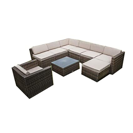Amazon.com : SHOPPERs CHOICE 9PC Outdoor Wicker Sofa Set ...