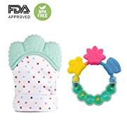 Baby Teething Mitten & Teething Ring(Teething Toys)Self Soothing Teether & Teething Pain Relief Toy, Prevent Scratches Protection Glove, 100% BPA Free Silicone (Light Green)