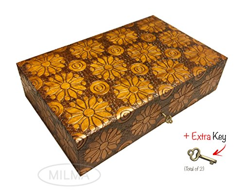 Large Collector Box Polish Handmade Jewelry Box Linden Wood Keepsake