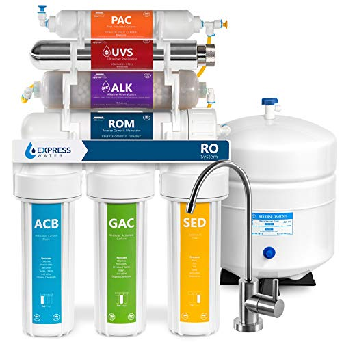 Express Water Uv Reverse Osmosis Water Filtration System 11 Stage Uv Water Filter With Faucet And Tank Under Sink Water Filter With Alkaline Filter For Added Essential Minerals 100 Gdp Roalkuv10m