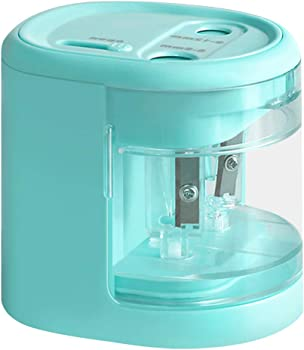 Keyshow Dual-Hole USB or Battery-Operated Electric Pencil Sharpener (Blue)