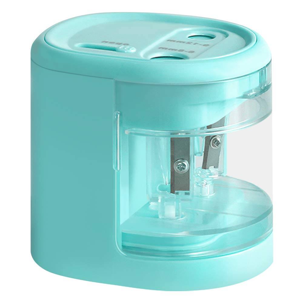 Electric Pencil Sharpener Dual-Hole 0.23-0.31 Inch & 0.35-0.47 Inch USB or Battery-Operated Kids Safety for School Classroom, Home, Office, Studio (Blue)