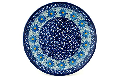 (Polish Pottery 10½-inch Dinner Plate made by Ceramika Artystyczna (Winter Water Daisies Theme) Signature UNIKAT + Certificate of Authenticity)