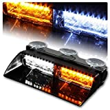 strobes lights for cars - WoneNice 16 LED High Intensity LED Law Enforcement Emergency Hazard Warning Strobe Lights 18 Modes for Interior Roof / Dash / Windshield with Suction Cups (White/Amber)