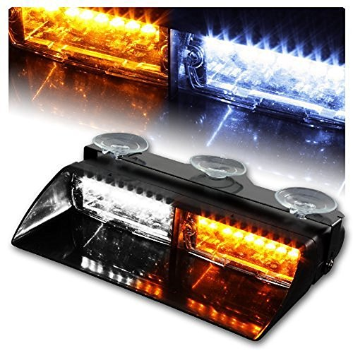 WoneNice 16 LED High Intensity LED Law Enforcement Emergency Hazard Warning Strobe Lights 18 Modes for Interior Roof / Dash / Windshield with Suction Cups (White/Amber)