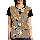 I Love Bee Women's Raglan T-Shirt Comfort Sport Baseball Tees Tops Undershirts