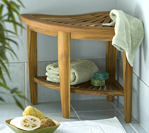 Teak Corner Stool made for indoor or outdoor use, fully-assembled TEAK WOOD by Diamond Tropical Hardwoods