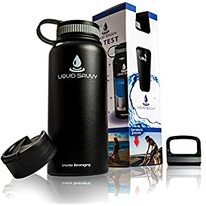 32 oz Insulated Water Bottle with 3 lids - Stainless Steel, Wide Mouth Double Walled Vacuum Bottle for Hot and Cold Beverages by Liquid Savvy (Black).