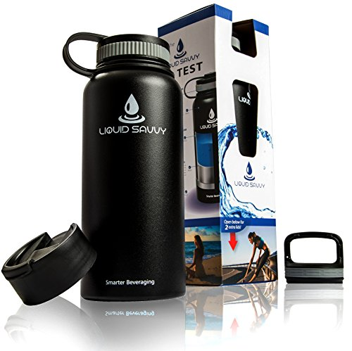 32 oz Insulated Water Bottle with 3 lids - Stainless Steel, Wide Mouth Double Walled Vacuum Bottle for Hot and Cold Beverages by Liquid Savvy.