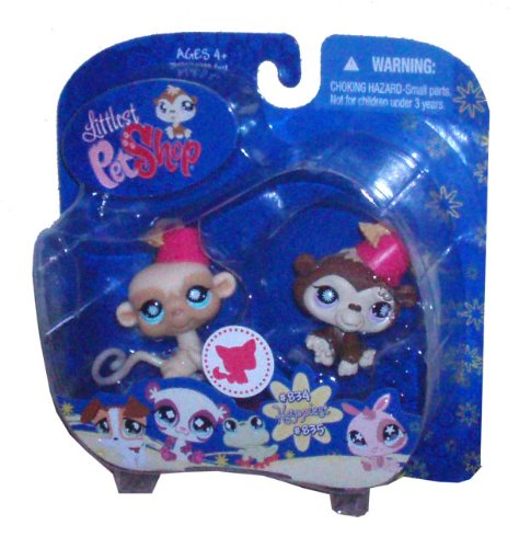 Littlest Pet Shop Happiest Pet Pair Portable Collectible Gift Set - Chimpanzee with Hat (#834) and Monkey with Hat (#835)