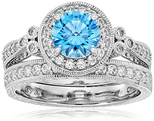 Platinum-Plated Sterling Silver Fancy Blue Antique Rings set made with Swarovski Zirconia, Size 8