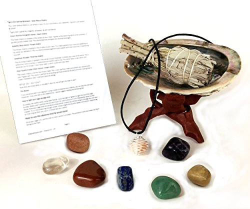 chakra-stone-set-with-7-crystals-sage-abalone-shell-wood-stand-cage-pendant-spiritual-healing-crysta