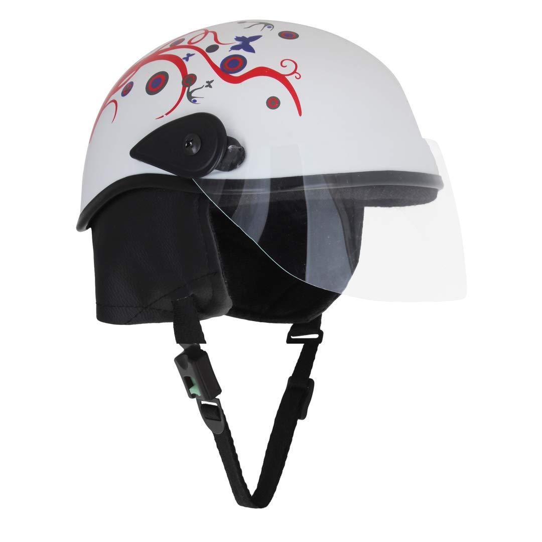 Sage square ladies scooty helmet white glossy sticker design 1 amazon in car motorbike